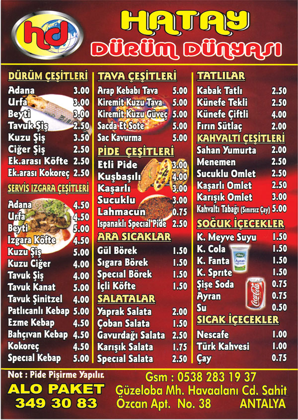 Hatay Dürüm Dünyası Merkez Antalya